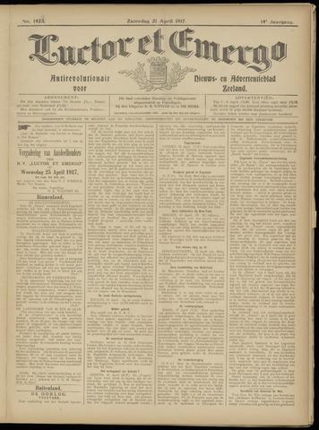 Luctor et Emergo. Antirevolutionair nieuws- en advertentieblad voor Zeeland / Zeeuwsch-Vlaanderen. Orgaan ter verspreiding van de christelijke beginselen in Zeeuwsch-Vlaanderen 1917-04-21