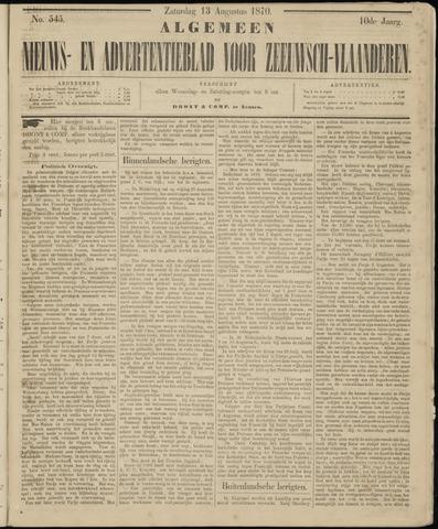 Ter Neuzensche Courant. Algemeen Nieuws- en Advertentieblad voor Zeeuwsch-Vlaanderen / Neuzensche Courant ... (idem) / (Algemeen) nieuws en advertentieblad voor Zeeuwsch-Vlaanderen 1870-08-13