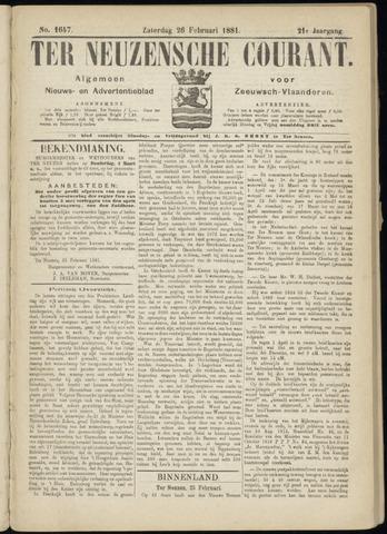 Ter Neuzensche Courant. Algemeen Nieuws- en Advertentieblad voor Zeeuwsch-Vlaanderen / Neuzensche Courant ... (idem) / (Algemeen) nieuws en advertentieblad voor Zeeuwsch-Vlaanderen 1881-02-26