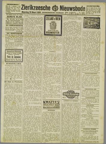 Zierikzeesche Nieuwsbode 1926-03-29