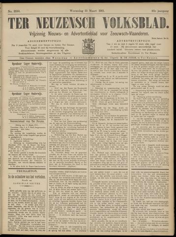 Ter Neuzensch Volksblad. Vrijzinnig nieuws- en advertentieblad voor Zeeuwsch- Vlaanderen / Zeeuwsch Nieuwsblad. Nieuws- en advertentieblad voor Zeeland 1911-03-15