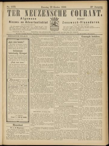 Ter Neuzensche Courant. Algemeen Nieuws- en Advertentieblad voor Zeeuwsch-Vlaanderen / Neuzensche Courant ... (idem) / (Algemeen) nieuws en advertentieblad voor Zeeuwsch-Vlaanderen 1910-10-22