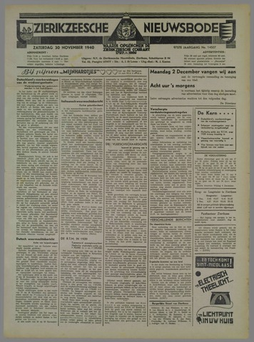 Zierikzeesche Nieuwsbode 1940-11-30