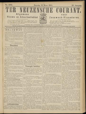 Ter Neuzensche Courant. Algemeen Nieuws- en Advertentieblad voor Zeeuwsch-Vlaanderen / Neuzensche Courant ... (idem) / (Algemeen) nieuws en advertentieblad voor Zeeuwsch-Vlaanderen 1911-03-18
