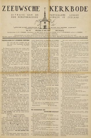 Zeeuwsche kerkbode, weekblad gewijd aan de belangen der gereformeerde kerken/ Zeeuwsch kerkblad 1946-05-31