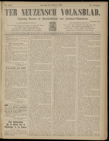 Ter Neuzensch Volksblad. Vrijzinnig nieuws- en advertentieblad voor Zeeuwsch- Vlaanderen / Zeeuwsch Nieuwsblad. Nieuws- en advertentieblad voor Zeeland 1917-02-24