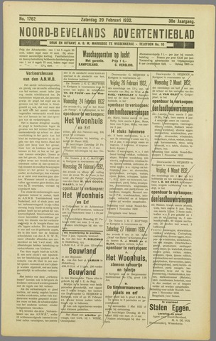 Noord-Bevelands Nieuws- en advertentieblad 1932-02-20