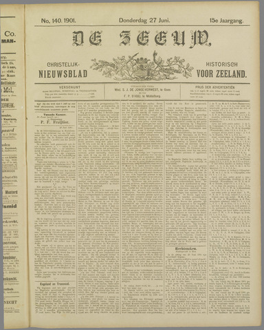 De Zeeuw. Christelijk-historisch nieuwsblad voor Zeeland 1901-06-27