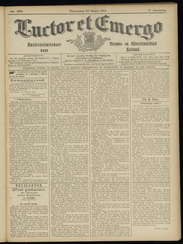 Luctor et Emergo. Antirevolutionair nieuws- en advertentieblad voor Zeeland / Zeeuwsch-Vlaanderen. Orgaan ter verspreiding van de christelijke beginselen in Zeeuwsch-Vlaanderen 1914-03-25