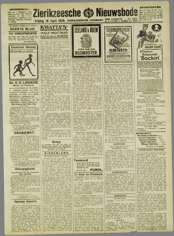 Zierikzeesche Nieuwsbode 1926-04-16