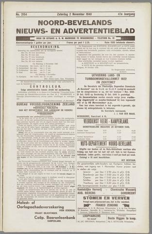 Noord-Bevelands Nieuws- en advertentieblad 1940-11-02