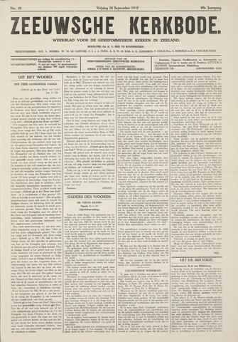 Zeeuwsche kerkbode, weekblad gewijd aan de belangen der gereformeerde kerken/ Zeeuwsch kerkblad 1935-09-20