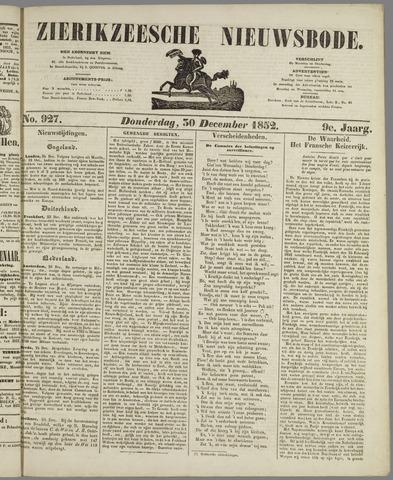 Zierikzeesche Nieuwsbode 1852-12-30