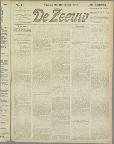 De Zeeuw. Christelijk-historisch nieuwsblad voor Zeeland 1916-12-22