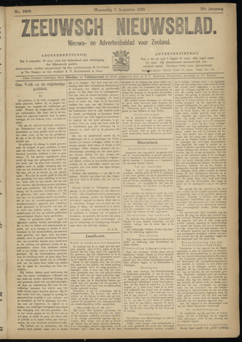 Ter Neuzensch Volksblad. Vrijzinnig nieuws- en advertentieblad voor Zeeuwsch- Vlaanderen / Zeeuwsch Nieuwsblad. Nieuws- en advertentieblad voor Zeeland 1918-08-07