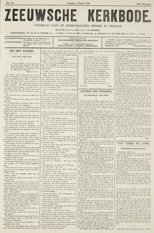 Zeeuwsche kerkbode, weekblad gewijd aan de belangen der gereformeerde kerken/ Zeeuwsch kerkblad 1938-04-01