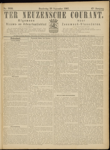Ter Neuzensche Courant. Algemeen Nieuws- en Advertentieblad voor Zeeuwsch-Vlaanderen / Neuzensche Courant ... (idem) / (Algemeen) nieuws en advertentieblad voor Zeeuwsch-Vlaanderen 1907-09-26