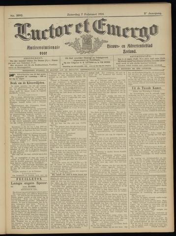 Luctor et Emergo. Antirevolutionair nieuws- en advertentieblad voor Zeeland / Zeeuwsch-Vlaanderen. Orgaan ter verspreiding van de christelijke beginselen in Zeeuwsch-Vlaanderen 1914-02-07