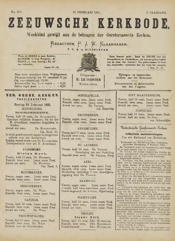 Zeeuwsche kerkbode, weekblad gewijd aan de belangen der gereformeerde kerken/ Zeeuwsch kerkblad 1891-02-21