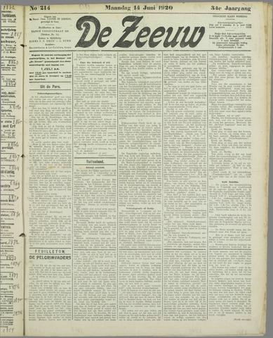 De Zeeuw. Christelijk-historisch nieuwsblad voor Zeeland 1920-06-14