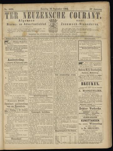 Ter Neuzensche Courant. Algemeen Nieuws- en Advertentieblad voor Zeeuwsch-Vlaanderen / Neuzensche Courant ... (idem) / (Algemeen) nieuws en advertentieblad voor Zeeuwsch-Vlaanderen 1903-09-26