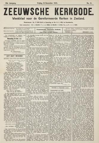 Zeeuwsche kerkbode, weekblad gewijd aan de belangen der gereformeerde kerken/ Zeeuwsch kerkblad 1925-12-18