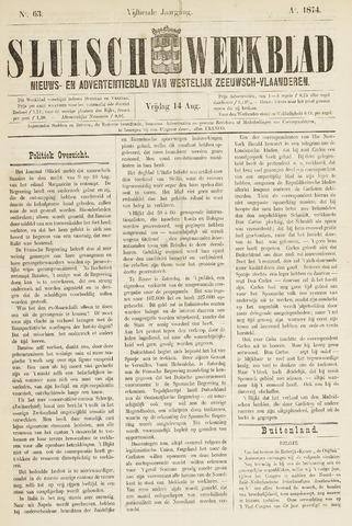 Sluisch Weekblad. Nieuws- en advertentieblad voor Westelijk Zeeuwsch-Vlaanderen 1874-08-14