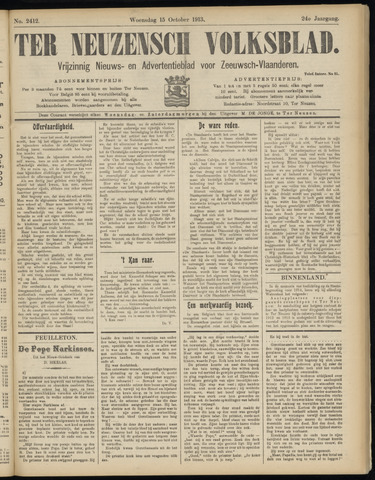 Ter Neuzensch Volksblad. Vrijzinnig nieuws- en advertentieblad voor Zeeuwsch- Vlaanderen / Zeeuwsch Nieuwsblad. Nieuws- en advertentieblad voor Zeeland 1913-10-15