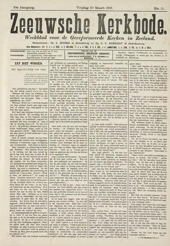 Zeeuwsche kerkbode, weekblad gewijd aan de belangen der gereformeerde kerken/ Zeeuwsch kerkblad 1916-03-10