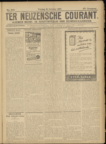 Ter Neuzensche Courant. Algemeen Nieuws- en Advertentieblad voor Zeeuwsch-Vlaanderen / Neuzensche Courant ... (idem) / (Algemeen) nieuws en advertentieblad voor Zeeuwsch-Vlaanderen 1927-10-21