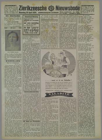 Zierikzeesche Nieuwsbode 1934-04-30