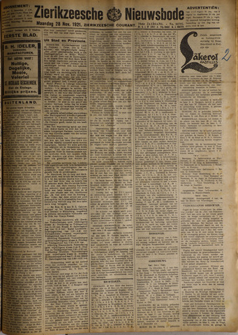 Zierikzeesche Nieuwsbode 1921-11-28