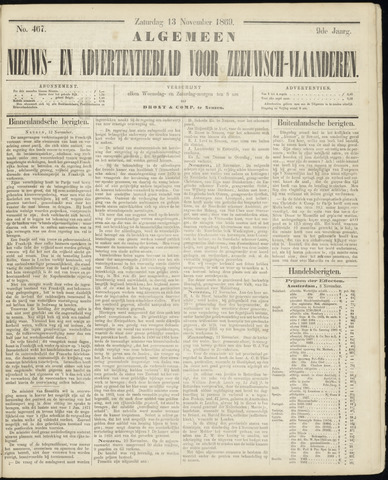 Ter Neuzensche Courant. Algemeen Nieuws- en Advertentieblad voor Zeeuwsch-Vlaanderen / Neuzensche Courant ... (idem) / (Algemeen) nieuws en advertentieblad voor Zeeuwsch-Vlaanderen 1869-11-13