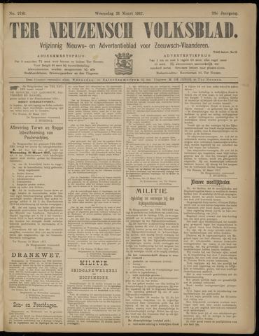 Ter Neuzensch Volksblad. Vrijzinnig nieuws- en advertentieblad voor Zeeuwsch- Vlaanderen / Zeeuwsch Nieuwsblad. Nieuws- en advertentieblad voor Zeeland 1917-03-21