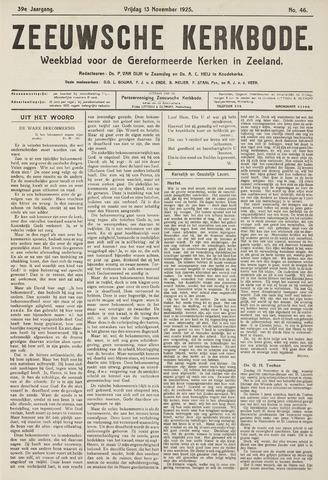 Zeeuwsche kerkbode, weekblad gewijd aan de belangen der gereformeerde kerken/ Zeeuwsch kerkblad 1925-11-13