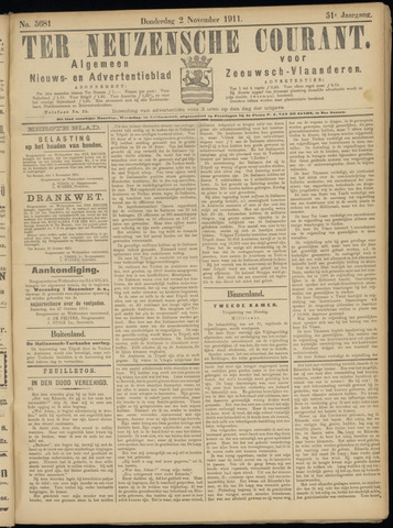 Ter Neuzensche Courant. Algemeen Nieuws- en Advertentieblad voor Zeeuwsch-Vlaanderen / Neuzensche Courant ... (idem) / (Algemeen) nieuws en advertentieblad voor Zeeuwsch-Vlaanderen 1911-11-02