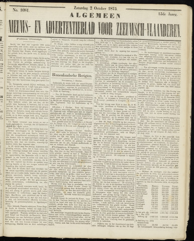 Ter Neuzensche Courant. Algemeen Nieuws- en Advertentieblad voor Zeeuwsch-Vlaanderen / Neuzensche Courant ... (idem) / (Algemeen) nieuws en advertentieblad voor Zeeuwsch-Vlaanderen 1875-10-02