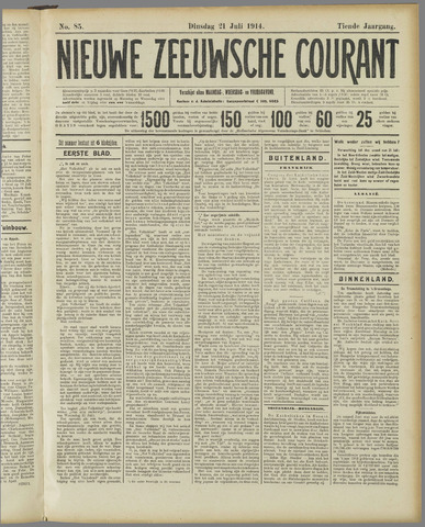 Nieuwe Zeeuwsche Courant 1914-07-21