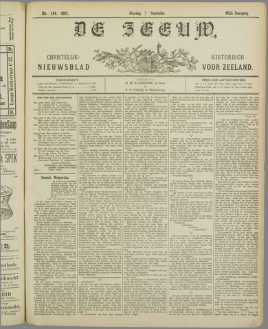 De Zeeuw. Christelijk-historisch nieuwsblad voor Zeeland 1897-09-07