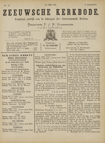 Zeeuwsche kerkbode, weekblad gewijd aan de belangen der gereformeerde kerken/ Zeeuwsch kerkblad 1888-06-30