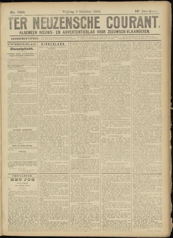 Ter Neuzensche Courant. Algemeen Nieuws- en Advertentieblad voor Zeeuwsch-Vlaanderen / Neuzensche Courant ... (idem) / (Algemeen) nieuws en advertentieblad voor Zeeuwsch-Vlaanderen 1924-10-03