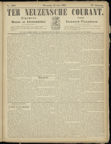 Ter Neuzensche Courant. Algemeen Nieuws- en Advertentieblad voor Zeeuwsch-Vlaanderen / Neuzensche Courant ... (idem) / (Algemeen) nieuws en advertentieblad voor Zeeuwsch-Vlaanderen 1887-06-29