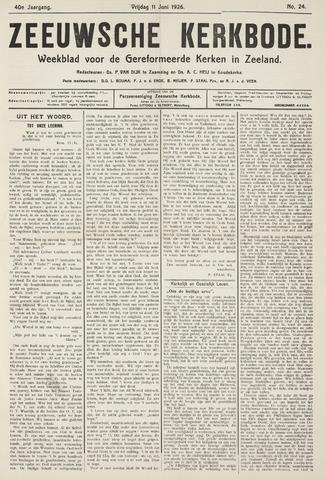 Zeeuwsche kerkbode, weekblad gewijd aan de belangen der gereformeerde kerken/ Zeeuwsch kerkblad 1926-06-11