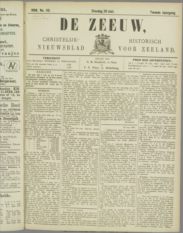 De Zeeuw. Christelijk-historisch nieuwsblad voor Zeeland 1888-06-26