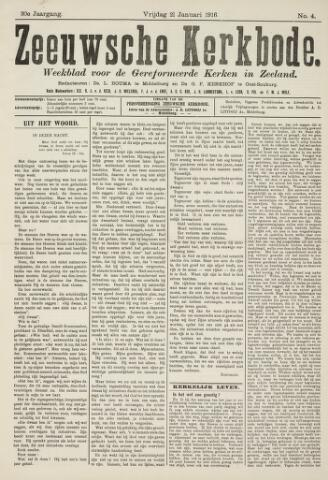 Zeeuwsche kerkbode, weekblad gewijd aan de belangen der gereformeerde kerken/ Zeeuwsch kerkblad 1916-01-21