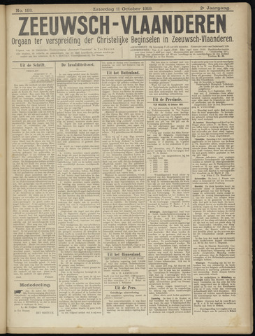 Luctor et Emergo. Antirevolutionair nieuws- en advertentieblad voor Zeeland / Zeeuwsch-Vlaanderen. Orgaan ter verspreiding van de christelijke beginselen in Zeeuwsch-Vlaanderen 1919-10-11