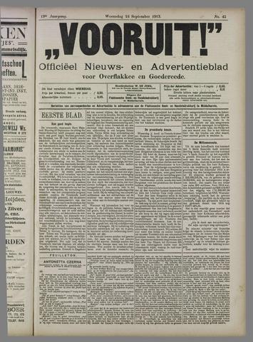 """""""Vooruit!""""Officieel Nieuws- en Advertentieblad voor Overflakkee en Goedereede 1913-09-24"""