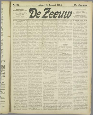 De Zeeuw. Christelijk-historisch nieuwsblad voor Zeeland 1924-01-18