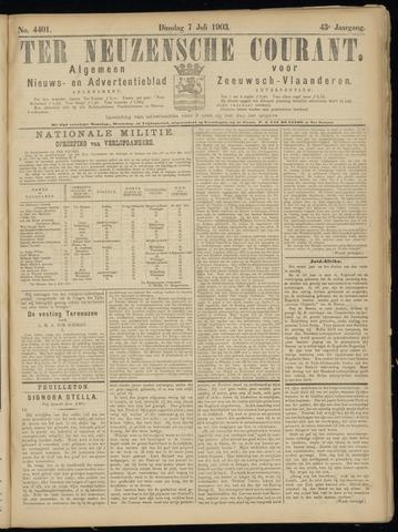 Ter Neuzensche Courant. Algemeen Nieuws- en Advertentieblad voor Zeeuwsch-Vlaanderen / Neuzensche Courant ... (idem) / (Algemeen) nieuws en advertentieblad voor Zeeuwsch-Vlaanderen 1903-07-07