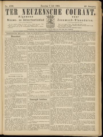 Ter Neuzensche Courant. Algemeen Nieuws- en Advertentieblad voor Zeeuwsch-Vlaanderen / Neuzensche Courant ... (idem) / (Algemeen) nieuws en advertentieblad voor Zeeuwsch-Vlaanderen 1905-07-01